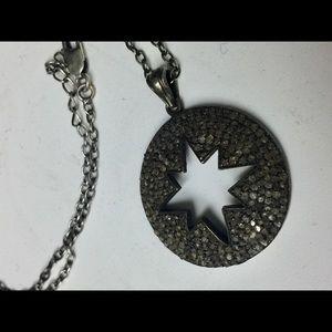 OXIDIZED STERLING SILVER DIAMOND STAR PENDANT